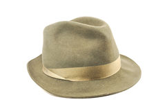 Fedora hat. Old grey fedora hat isolated on white background stock image