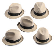 Fedora hat. Multiple view of a light fedora hat Stock Photo