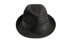 Fedora hat. A black fedora hat isolated on white Stock Photos