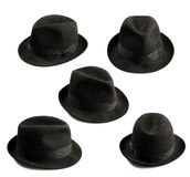 Fedora hat. Multiple view of a black fedora hat isolated on white stock images
