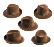 Fedora hat. Multiple view of a brown fedora hat isolated on white Royalty Free Stock Image