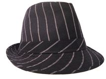 Fedora hat. Black fedorahat with white stripings. On a white background Royalty Free Stock Images