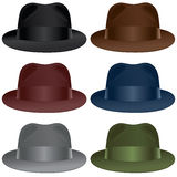 Fedora hat. A fedora hat selection in black, gray, burgundy, olive, blue and brown colors vector illustration