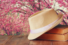 Fedora hat and stack of books over wooden table and cherry blossom tree landscape background. relaxation or vacation concept Stock Photos