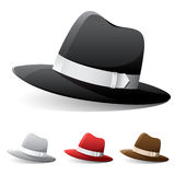 Fedora Hats. Vector icon of fedora hat in different colors royalty free illustration