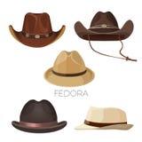 Fedora i kowbojscy kapelusze brąz i beż barwimy set royalty ilustracja