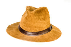 Fedora style hat suede leather Royalty Free Stock Image