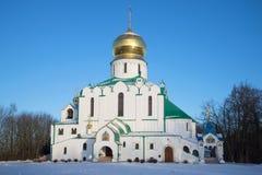 Fedorovsky大教堂在11月晚上 Tsarskoye Selo,圣彼德堡 免版税库存照片
