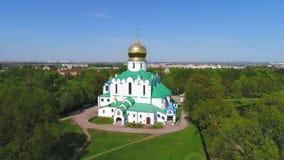 Fedorovsky大教堂在Tsarskoye Selo 桥梁okhtinsky彼得斯堡俄国圣徒 股票录像