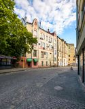 Fedunsya street of Uzhgorod. Uzhgorod, Ukraine - Jun 11, 2017: Fedunsya street of Uzhgorod. lovely cityscape with beautiful old architecture in summer early Royalty Free Stock Photography