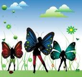 Feeën met kleurrijke vleugels Stock Foto's