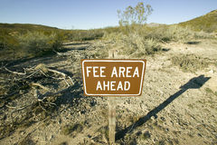 Fee Area sign. Of Three Rivers National Petroglyph site, off Highway 54, New Mexico stock image