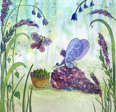 Fee in bos het plukken van Th bloemen Royalty-vrije Stock Afbeelding