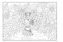 Fee in de kunstontwerp van de vijverlijn voor het kleuren van boek voor volwassene royalty-vrije illustratie