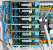 Fee electrical circuits. Electric board with electronic components close up stock photography