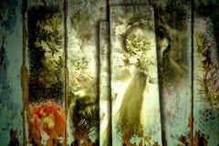 Fee en bloemen oude achtergrond Royalty-vrije Stock Afbeelding