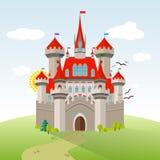 Fee-Geschichte Schloss Vektor-Fantasie-Kinderillustration Lizenzfreies Stockfoto