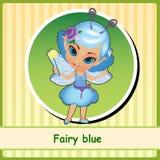 Fee im blauen Kleid - von Hand gezeichnete Illustration lizenzfreie abbildung