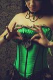 Fee im grünen Korsett Lizenzfreie Stockfotos