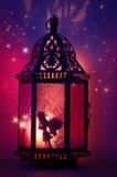 Fee innerhalb der Laterne mit funkelnden Sternen und den purpurroten und rosa Farben Stockfotografie