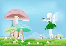Fee met lieveheersbeestje in tuin en paddestoelhuisdocument kunststijl vector illustratie