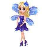 Fee mit Flügeln im blauen Kleid Stockfotos