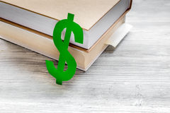 Fee-paying education set with dollar sign on white table top view Royalty Free Stock Photo