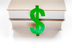 Fee-paying education set with dollar sign on white table top view Stock Photography