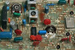 Fee radio channel TV of the late eighties. Radio components of the past. An example of the industrial assembly of electronics of the last century stock photos