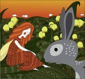 Fee whith het grijze konijn Royalty-vrije Stock Foto's