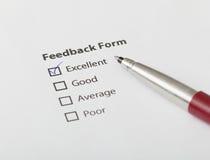 Feed-backformular überprüft mit ausgezeichnetem Lizenzfreies Stockbild