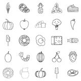 Feed icons set, outline style. Feed icons set. Outline set of 25 feed vector icons for web isolated on white background Royalty Free Stock Images