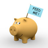 Feed me !. Orange piggybank with Feed me ! written on a flag (3D rendering) - A clipping path is embedded to isolate the subject (no shadow vector illustration