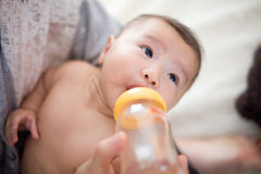 Feed milk to baby Royalty Free Stock Photos