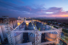 Feed mills. Set of storage tanks raw material agricultural crops  feed mills Stock Photo