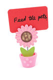 Feed the pets. Words written on red paper of sun flower pot clip Stock Image