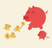 Feed pig with coins. Piggy bank have small son. Stock Photo