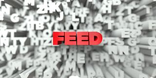 FEED -  Red text on typography background - 3D rendered royalty free stock image Royalty Free Stock Photos