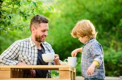 Feed in right way for childs stage of development. Feed son solids. Feed your baby. Natural nutrition concept. Dad and. Cute toddler boy having lunch outdoors stock photos