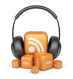 Feed of rss audio news. 3D icon. Feed of rss audio news.  Podcast concept. 3D icon Royalty Free Stock Photography