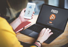 Feed RSS Internet Network Technology Web Concept Stock Photos