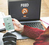Feed RSS Internet Network Technology Web Concept. People Using Feed RSS Internet Network Technology Stock Image