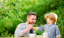 Feed son solids. Feed your baby. Natural nutrition concept. Dad and cute toddler boy having lunch outdoors. Child care. Feeding son natural foods. Feed in royalty free stock images