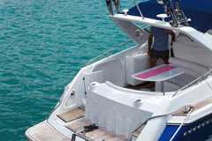 Feed speed boat against the sea, close up. Concept of freedom and recreation at sea Stock Image