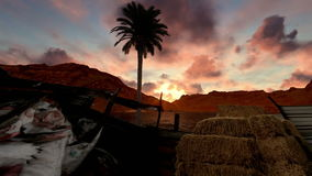 Feed store for livestock near the mountain lake at sunset stock video footage