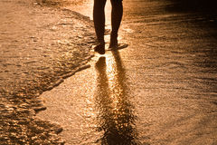 Feed of walking man at the water Royalty Free Stock Photos