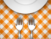 Feed the world. Hand shape fork with empty plate on table cloth Stock Image