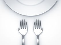 Feed the world. Hand shape fork with empty plate on white background Stock Photography