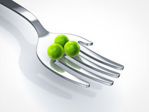 Feed the world. Hand shape fork with peas on white background Stock Images