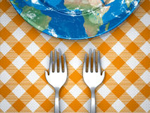 Feed the world. Hand shape forks and empty earth plate on table cloth Stock Photos